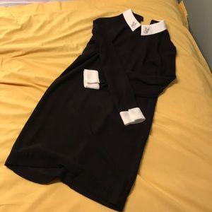 Victoria Beckham black dress with white collar